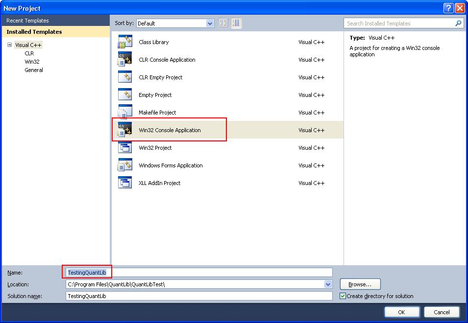 QuantLib Installation in Visual C++